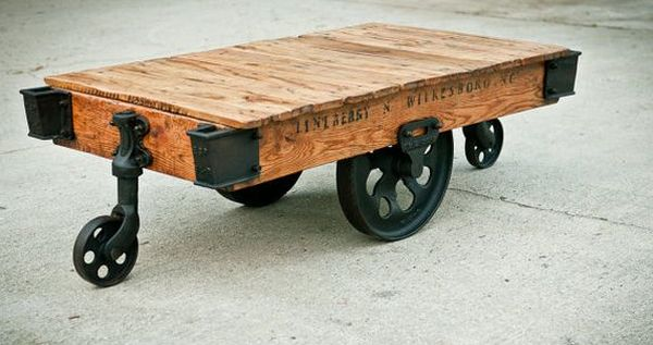 steampunk furniture – reclaimed factory cart coffee table