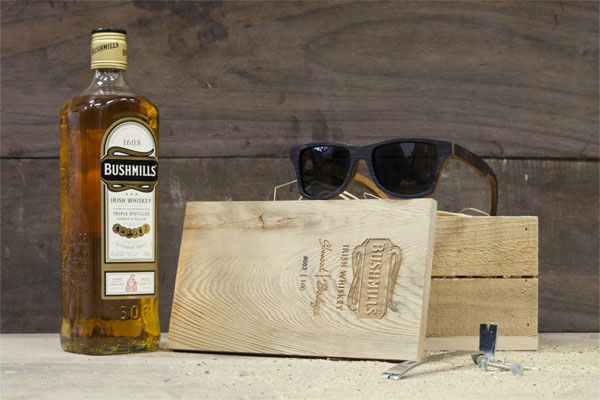 Sunglass frames made from whiskey barrels