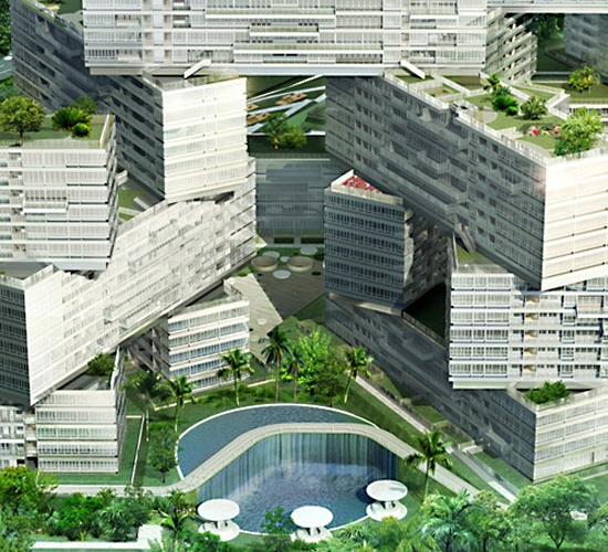 The Apartment Complex: Eco Architecture: OMA Stacks Buildings To Create A