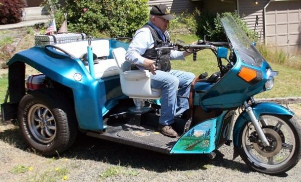 Three wheeled motorbike