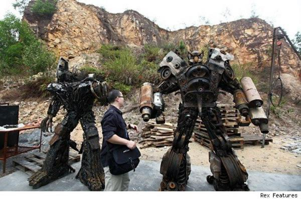 Transformers built out of old metal junk