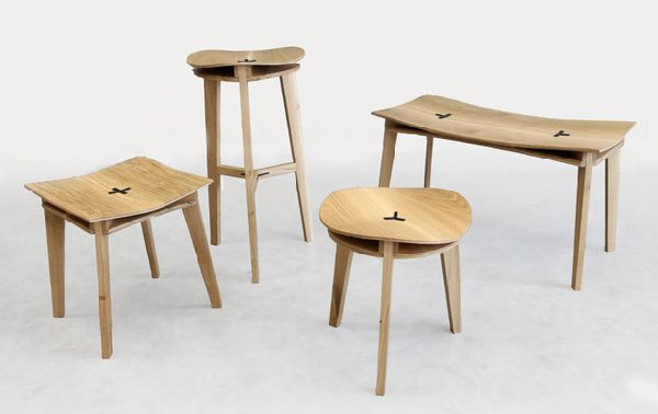 Trizin Stools Minimally designed seating finds strength in warped wood