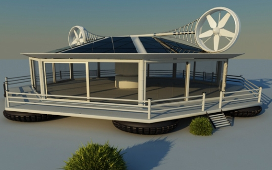 Eco Factor Conceptual Self Sufficient Home Made From Recycled And Sustainable Materials