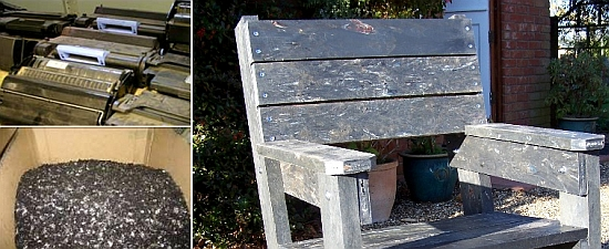 used toner cartridges recycled to garden furniture