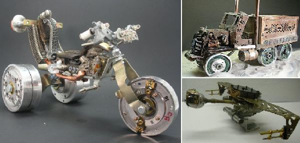 Crafting cool automobile sculptures out of e waste ecofriend for Model on best out of waste