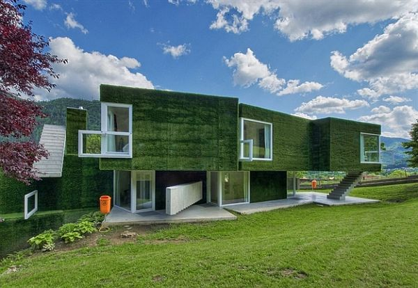 Fascinating modern home in austria is cloaked in a shroud for Green modern homes