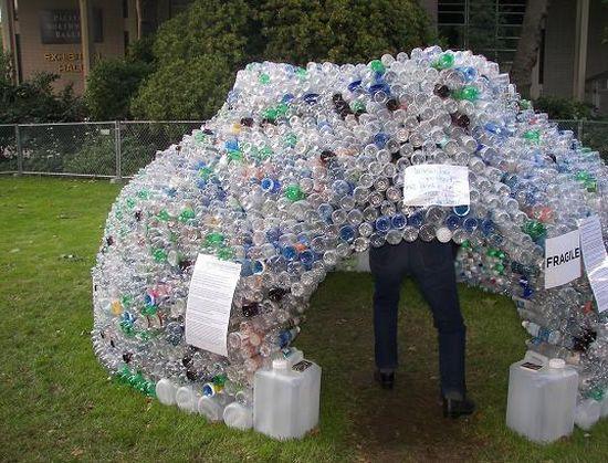 Домик для ребенка из пластиковых бутылок своими руками 57