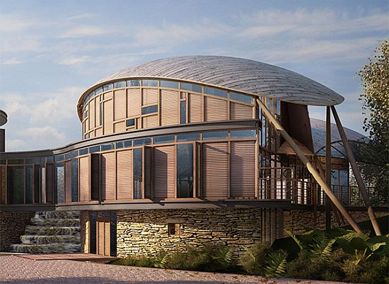 Eco Architecture Gyllehaugh Lake House Displays