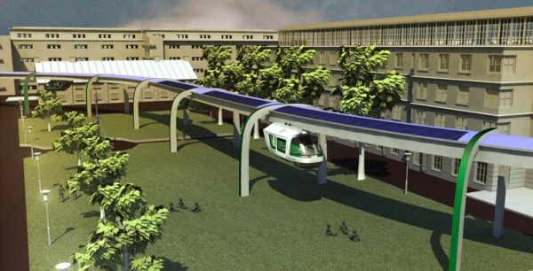 Futuristic Public Rapid Transit blends the advantages of a car and