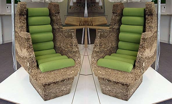 Reused Furniture eco arts: mulch chair – reused garden waste for garden furniture