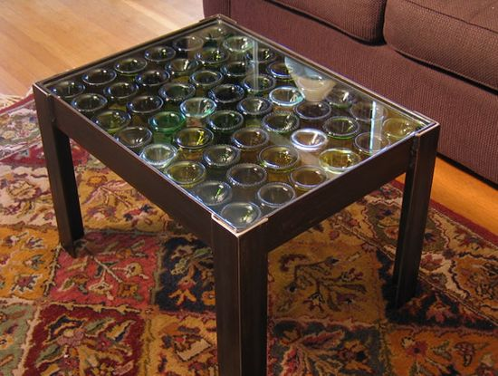 Eco arts coffee table made from recycled wine bottle punts ecofriend Eco friendly coffee table