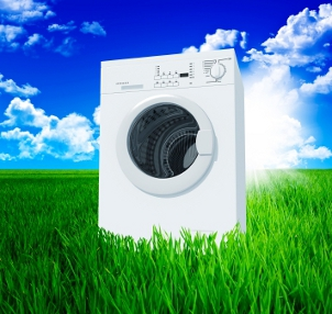 washing machine and green field with blue sky 3d background