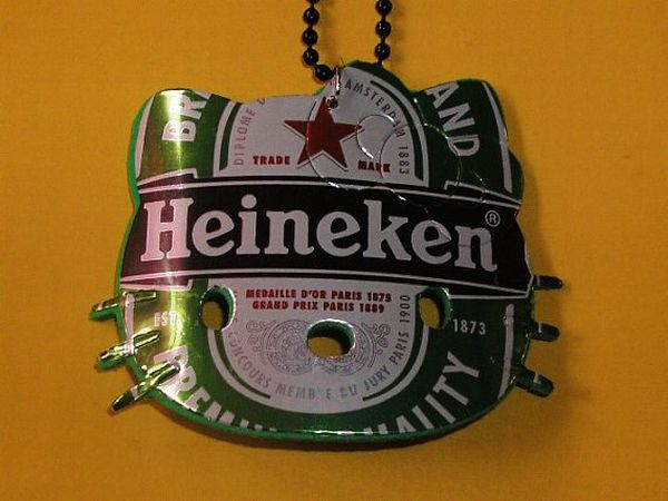 beer can art heineken hello kitty eco upcycled recycled necklace-f97987