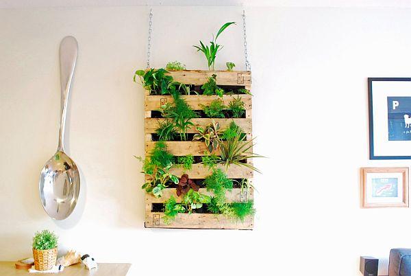 DIY Pallet living wall