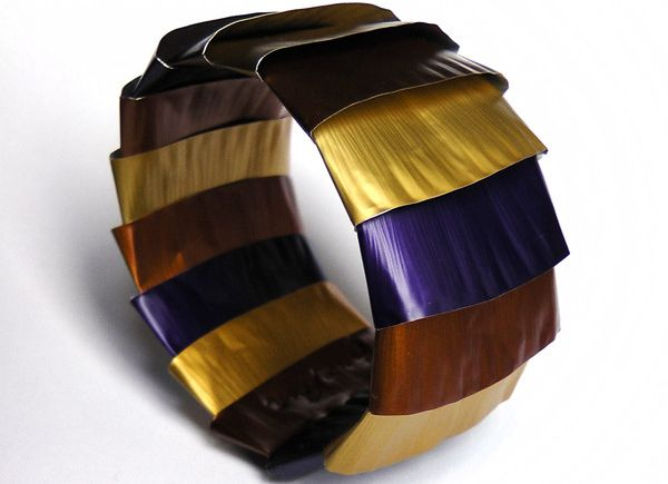 Nespresso capsules flattened to make bracelets