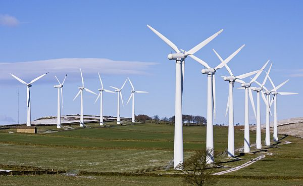 Wind turbines in windfarm