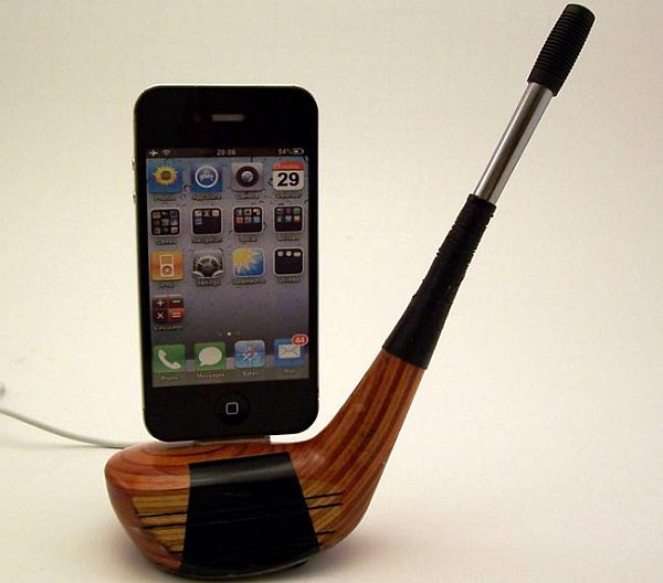 Recycled vintage golf club iPhone docks