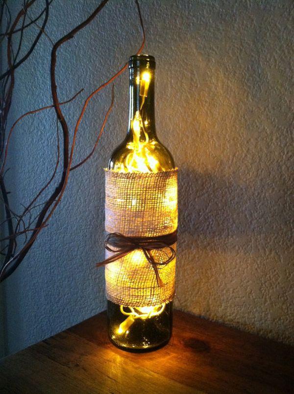 Burlap Wine Bottle Lamp
