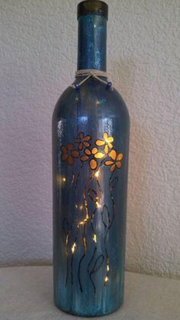Mod Flower Wine Bottle Lamp