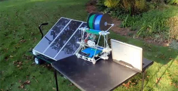 Solar-powered 3D printers