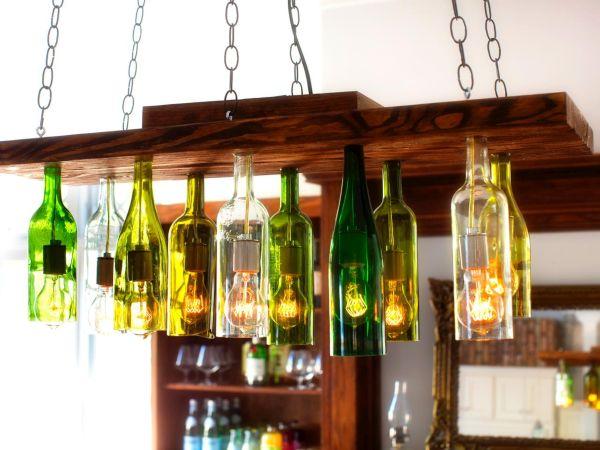 Ten light Wine Bottle Chandelier