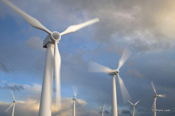 Wind generator turbines , Blurred motion , 3d render