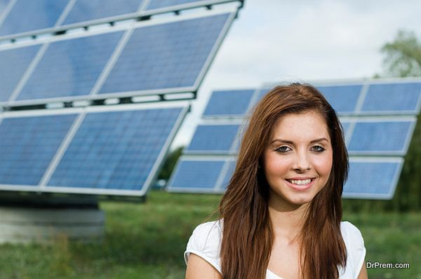 girl with solar panels