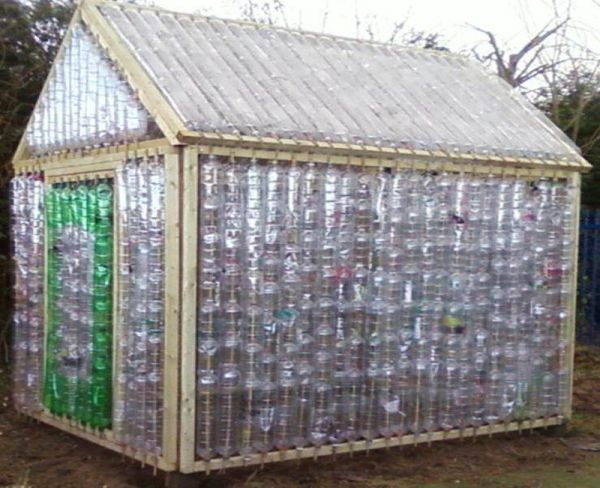 Taking the diy route to a plastic bottle greenhouse for Homemade greenhouse plastic