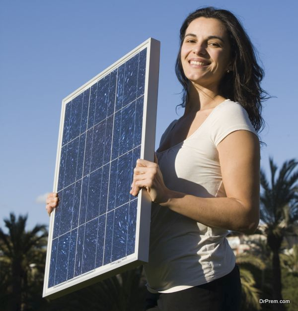 woman with a solar panel