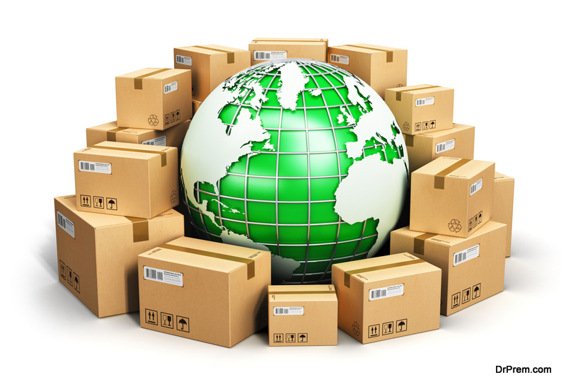 Green Globe surrounded by packages