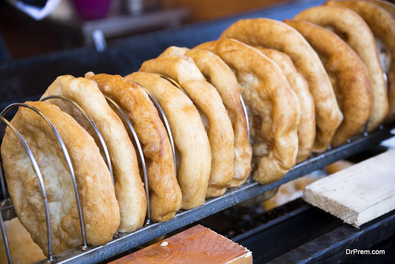 Langos is the hungarian traditional fried dough pie