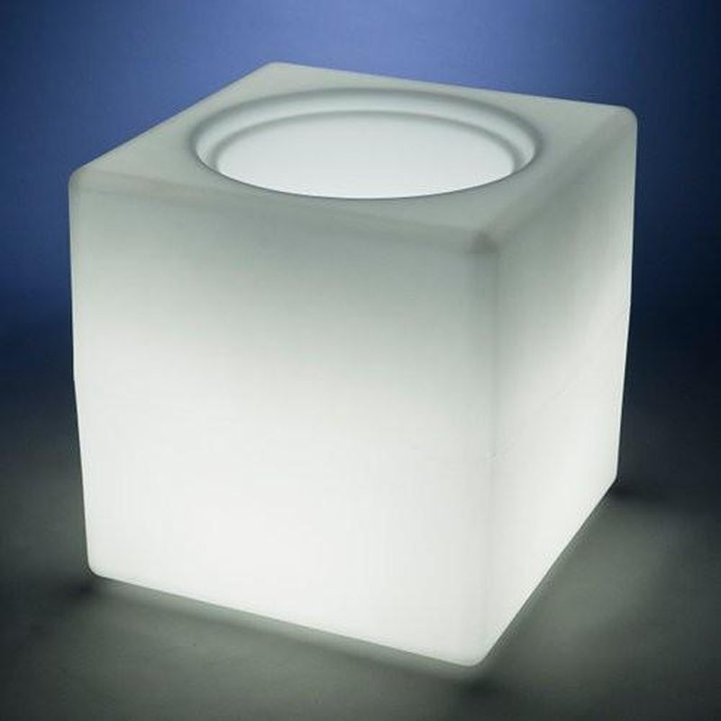 Illuminated tables and planters made from 100% recycled plastics