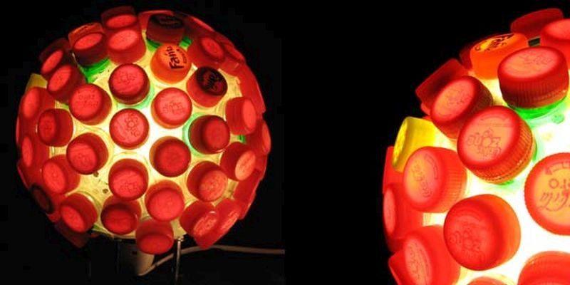 lights made of plastic bottle caps