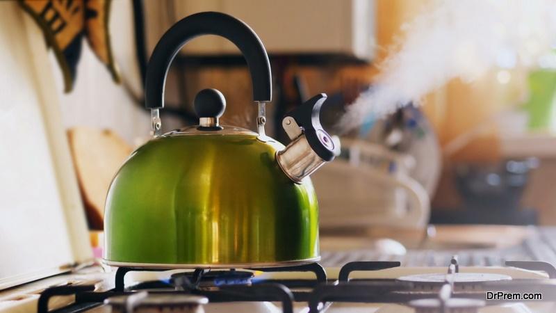 Boiling water in a kettle