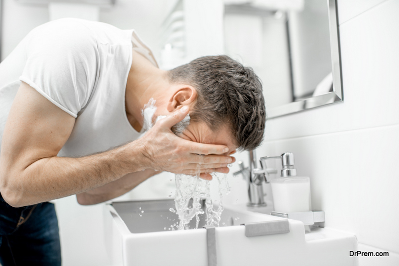 man using Face wash
