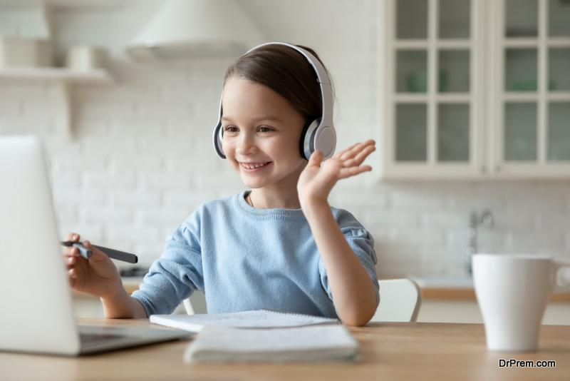 little girl on video call