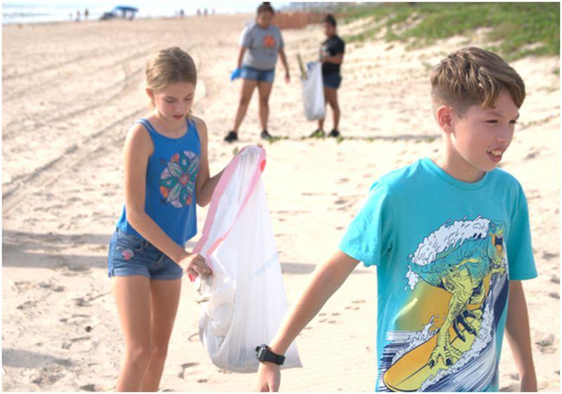 Cleaning a beach