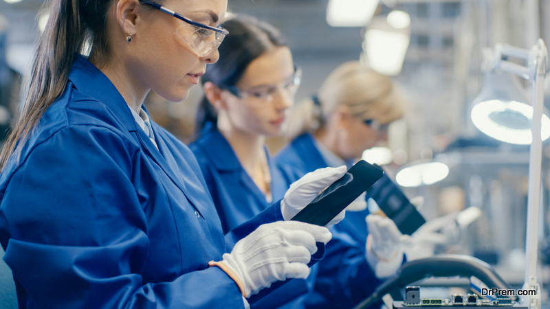 Woman Electronics Factory Worker